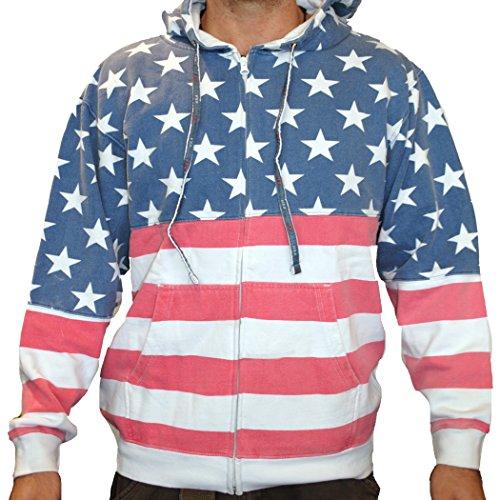 Licensed Mart Unisex Proud American Flag Zip Up...