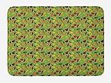 ABAKUHAUS Saludable Tapete para Baño, Fresco Zanahorias y Manzanas, Decorativo de Felpa Estampada con Dorso Antideslizante, 45 cm x 75 cm, Multicolor