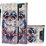 HMTECH Samsung Galaxy A80 Custodia Cover Portafoglio,Samsung Galaxy A90 Custodia 3D Pittura Colorata Wallet Shock-Absorption Magnetica Supporto Bumper Leather Flip Cover,YB Owl Necklace
