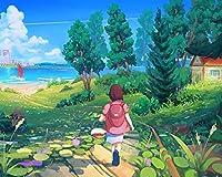 大人のための番号キットによるペイントカラー原稿子供散歩森夏のアートDIY油絵子供のための大きなサイズの誕生日プレゼントアート装飾壁の絵 カスタマイズ可能 40x50cm DIYフレーム