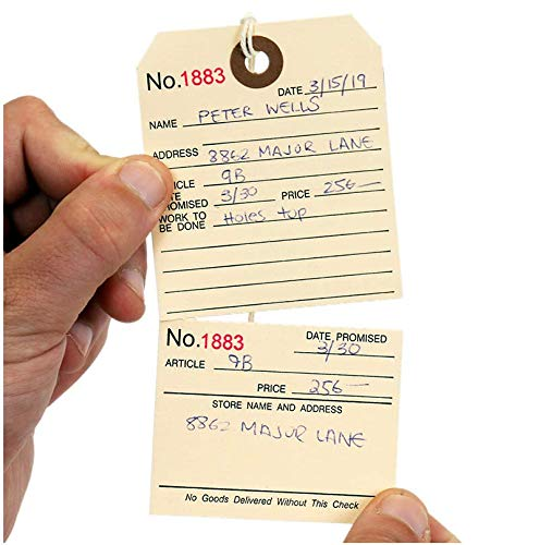 """SmartSign Pack of 100 Numbered Repair Tags with Attached String 