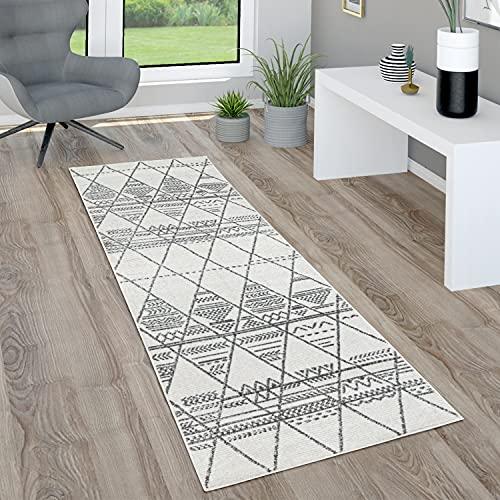 Paco Home Teppich Wohnzimmer Kurzflor Mit Boho Skandi Rauten Muster Modern Abstrakt, Grösse:80x150 cm, Farbe:Natur 3