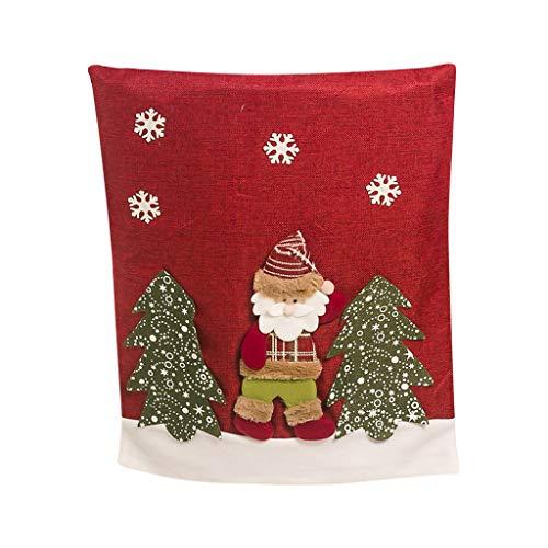 Luccase 1 Stücke Weihnachten Stuhlhussen 58x48 cm Weihnachten Stuhlbezug Elk Weihnachtsmann Schneemann Stoff 3D Weihnachten Puppe Stuhl Fühlte Weihnachten Dining Decor (A)