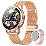 EasySMX Reloj Inteligente Mujer Smartwatch Mujer, [Regalos] Reloj Inteligente para Móvil de Android/IOS con 2 Correas, 26 Funciones como Pulsómetro, Podómetro, Monitor de Salud, Llamada o Calorías etc