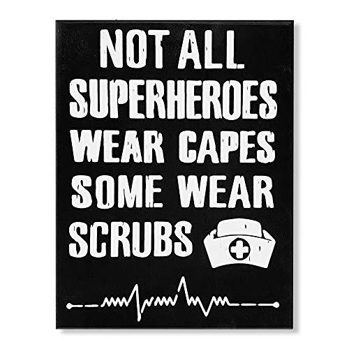 JennyGems Nurse Gifts, Nurse Signs, Gifts for Nurses, Not All SuperHeroes Wear Capes Some Wear Scrubs Wood Sign for Nurses, Nurse Birthday Gift, Nursing Graduation, Thank You Nurse Appreciation Gifts