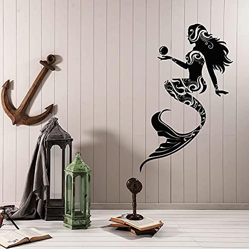 HGFDHG Cuento de Hadas calcomanías de Pared Ventana Decorativa Sirena para niños náutica decoración del hogar Creativa niñas niñas Dormitorio baño Pegatinas de Vinilo