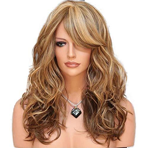 MAYI Perruque, Cheveux Bruns Mi-Longs Et Bouclés, Style Européen Et Américain