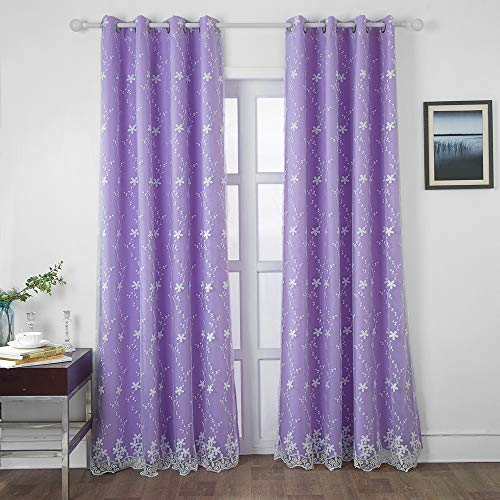 SearchI Light Purple Blackout Curtains Girls Bedroom Curtains Double Layer Embroidered Curtains 84 Inches Long, Window Treatment Grommet Room Darkening Sheer Drapes for Kids Room 1 Panel 42 x 63