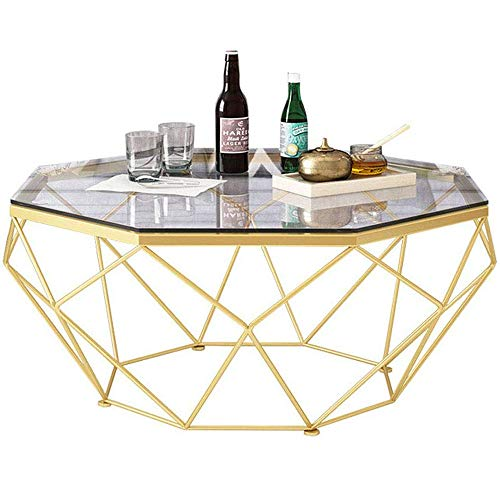 GRXXX Nordic Modern Round Side Coffee Table Living Room Coffee Table Casual Accent Cocktail Table Home Coffee Table, Gold/Glass,Gold,77x45 cm