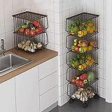 hsj Cesta de almacenamiento de 3 capas, con ruedas y tapa, cesta apilable de frutas y verduras, estante de almacenamiento de alambre para aperitivos (tamaño : 5 niveles)