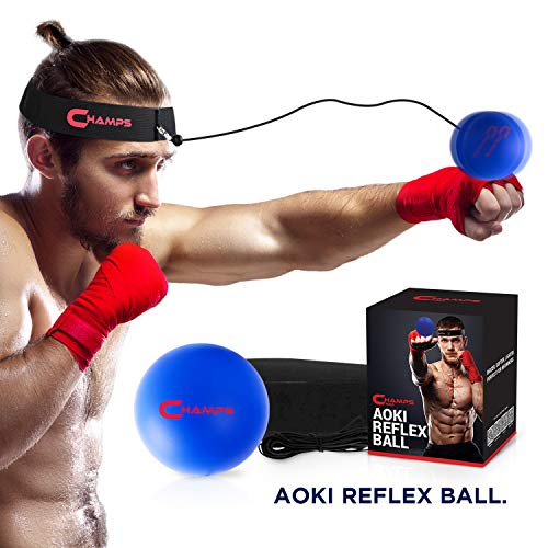 CHAMPS MMA Boxing Reflex Ball -Improve Reaction Speed and Hand Eye Coordination Training Boxing Equipment for Training at Home, Boxing Gear for MMA Equipment, Punching Ball Reflex Bag (Beginner)