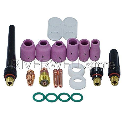 """TIG Stubby lente de gas 17GL332 3/32"""" & #10 Copa Pyrex & TIG lente de gas Alúmina boquilla Kit Ajuste DB SR WP 17 18 26 TIG Antorcha de soldadura 21piezas"""
