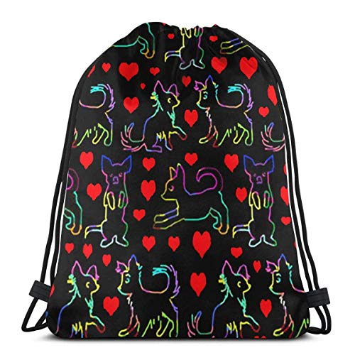 BXBX Bags Rainbow Red Heart Chihuahuas Dogs Shoulder Backpack Drawstring Backpack Nylon Folding Bag for School Home Travel Sport