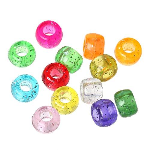 Sadingo, perline in plastica – Pony perline tamburo – con glitter (500 pezzi – 9 x 6 mm) perle acriliche – perline per il fai da te