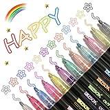 Penne di Contorno, 12 Colori Pennarelli a Doppia Linea, Pennarelli Glitterati Marcatori a Doppia Linea per Disegno per Disegnare, Biglietto di Auguri, Poster, Album