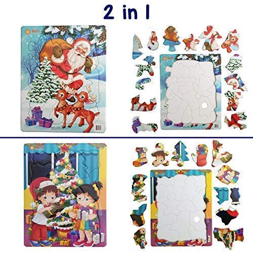 Jigsaw Puzzles (13 and 15 pcs) Kids Ages 3,4,5. Best Beginner Toddler Christmas, Santa, Holiday, Xmas Tree, Puzzle. Fun Learning Educational Toy Gift for Boys Girls at Daycare, Preschool, Montessori