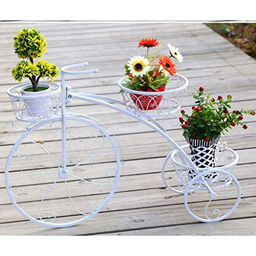 chishizhenxiang Soporte para flores de bicicleta de hierro forjado, soporte para macetas de 3...