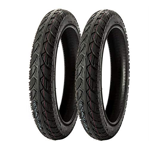 MMG Set of 2 Street Tread Electric Bike Tire Size 16x3.0 (80-305) fit on 12 Inches Rim Compatible with Folding Bikes, Scooters, e-Bikes, Mopeds, Kids Bikes BMX