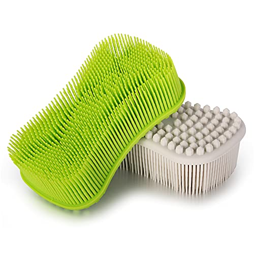 ELFRhino Silicone Body Scrubber, Gentle Exfoliating Cleaning Loofah, Soft Body Brush, SPA Massage Skin Care Tool, Scalp Massager for Women and Men, 2 Pack (Gray+Green)