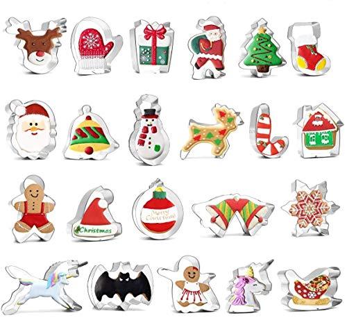 Alintor 22 Stück Ausstechformen Weihnachten, Plätzchenausstecher, Fondant Ausstecher Set, Keksausstecher Weihnachten, Weihnachten Ausstecher für Motivtorten Tortendeko Kekse Backen Küche Zubehör