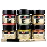 LM-Kreativ Maya Gold 6er Set von Viva Decor inkl. LM Pinsel (Indian Summer), Metallic Metall-Glanz, Effekt-Farbe Bastel-Farbe, Deko-Farbe metallisch glänzend, 6 x 45 ml