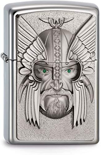 Zippo Zippo Feuerzeug 2003534 Green Eyed Viking Emblem Benzinfeuerzeug, Messing Edelstahl
