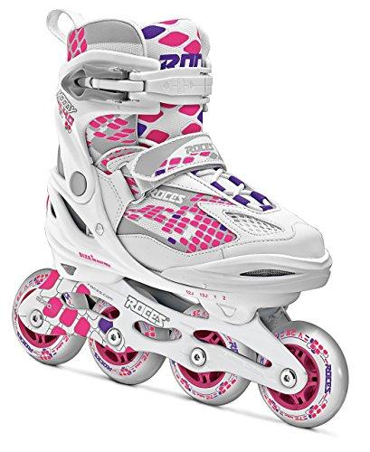 Roces Rollers en Ligne Moody Enfants 4.0, Enfant, Inlineskates Moody 4.0, White-Pink Lightning, 30-35