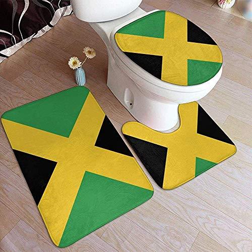 Bobo-Shop badmat met Jamaicaanse vlag, antislip, 3-delig, met badmat + omranding + toiletbrilhoes