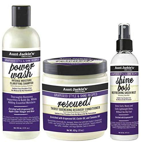 Aunt Jackies Traubenkern-Power-Wash-Shampoo 355 ml, Rescued Recovery Conditioner 426 g & Shine Boss Sheen Mist 120 ml