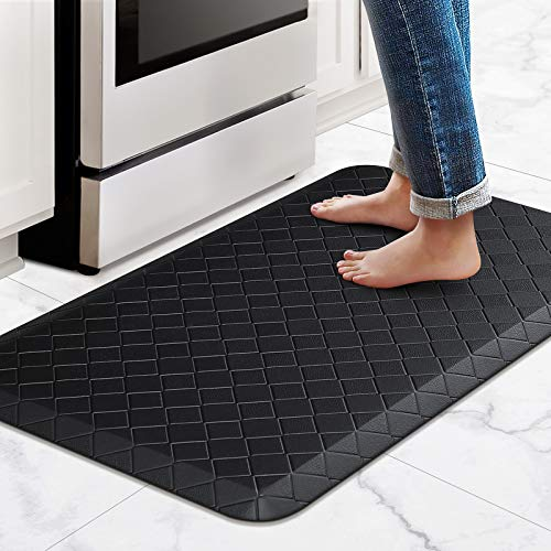 HappyTrends Kitchen Mat Cushioned Anti-Fatigue Kitchen Rug,17.3'x 28',Thick Waterproof Non-Slip Kitchen Mats and Rugs Heavy Duty PVC Ergonomic Comfort Rug for Kitchen,Floor,Office,Sink,Laundry,Black