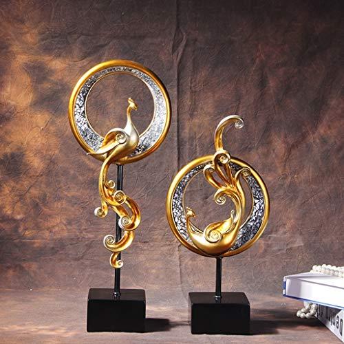 MARYADTFF Decoraciones Blandas Europeas Phoenix Debe Matar Joyas de Lujo Pegatinas de Vidrio Arte casero Porche TV gabinete artesanías (Color : Oro)