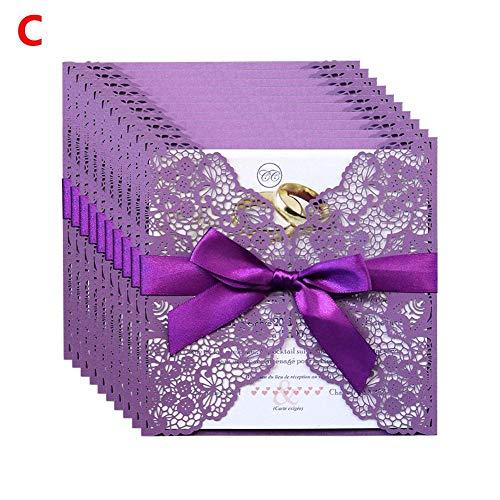 waterfail Elegante Einladungskarten Kits, 10 STÜCKE Spitze Hochzeit Einladungskarten, Für Hochzeit Ehe Geburtstag Brautdusche Party - 3 Farben Sind Verfügbar Wählen Sie