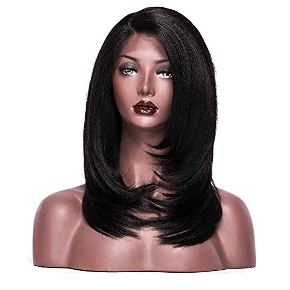 Colodo Lace Front Wigs Synthetic for Women L Part Yaki Straight 18 Inches