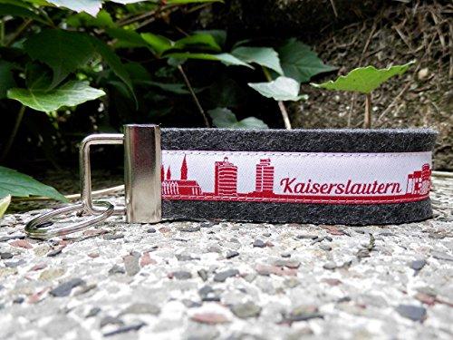 Schlüsselanhänger Schlüsselband Wollfilz anthrazit Kaiserslautern Skyline rot weiß!