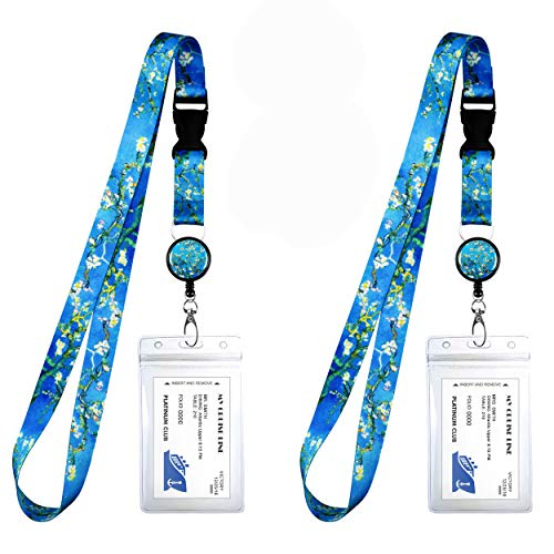 2-Pack Cruise Lanyard & Waterproof ID Key Card Holder Clip. Matching Retractable Badge Reel. Bonus Travel Organizer Bag. Essential Cruise Ship Accessories. Van Gogh Almond Blossom.