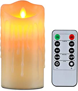 Wending Flameless Candles with 10 Key Remote Timer Flickering Tear Wave Shaped Tealight 3x5 Real Wax Simulate Dripping led Candles Battery Operated Safe for Halloween Christmas Indoor Outdoor Decor