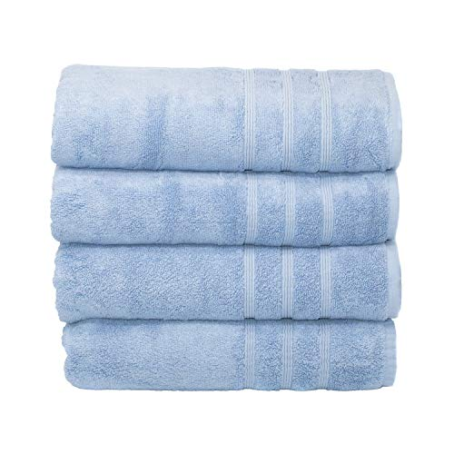 MOSOBAM 700 GSM Hotel Luxury Bamboo-Cotton, Bath Towels 30X58, Allure Blue, Set of 4, Quick Dry, Soft Spa-Like Turkish Bathroom Sets, Oversized Extra Large Body Sheet Towels, Prime Bulk Clearance