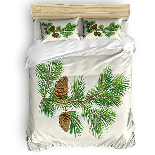 Cloud Dream Home 4 Pieces Luxury Duvet Cover Set Christmas Tree Pine Cone for Kids/Girl/Women/Adults Green Brown Breathable Bedding Comforter Cover Sets with Zipper, 4 Corner Ties California King