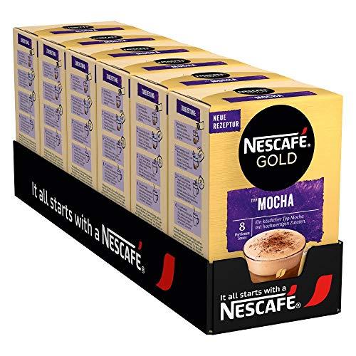 NESCAFÉ Gold Typ Mocha, Getränkepulver aus löslichem Bohnenkaffee, koffeinhaltig, 6er Pack (à 8 x 18g)