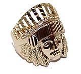 Diamantados of Fla Nativo Americna Indio Anillo 18K Chapado en Oro Anillo–Indio Anillo tamaño 11