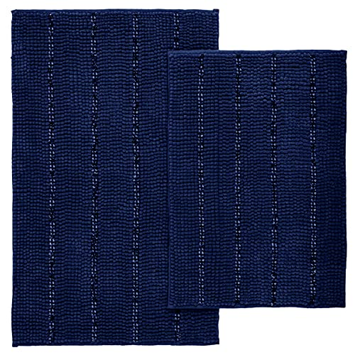 Tayis Tappeto Bagno Blu 2 Pezzi Antiscivolo Tappetino da Bagno Morbidi Ciniglia Assorbenti Lavabile in Lavatrice, 40x60cm+50x80cm, Blu