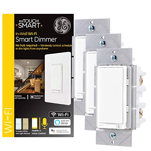 GE myTouchSmart WiFi Smart Light Dimmer 3-pack, 3-Way/Single Pole, Works with Alexa, Google Assistant, 2.4GHz, No Hub Needed, Neutral Wire Required, White & Light Almond, 48325