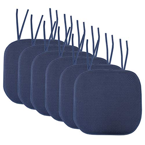 Sweet Home Collection Chair Cushion Memory Foam Pads with Ties Honeycomb Pattern Slip Non Skid Rubber Back Rounded Square 16' x 16' Seat Cover, 6 Pack, Navy 6 Count