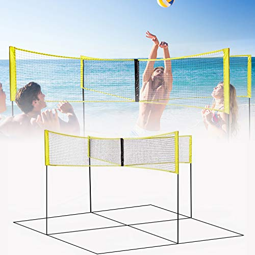 KAC 4-Sided Portable Volleyball Sets [Beach or Standard],Net System Portable Beach Volleyball Net