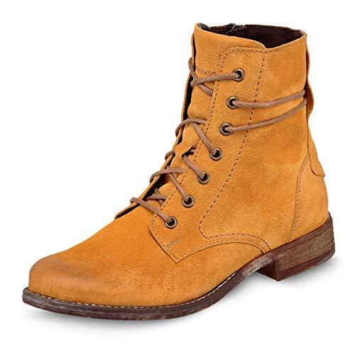 Josef Seibel Damen Stiefel Sienna 70, Frauen Schnürstiefel, Ladies feminin Women's Women Woman Freizeit leger Boots,Orange(Safran),41 EU / 7 UK