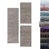 Carpetsale24 Alfombra Peluda de Pelo Largo Juego de pasillos de Cama de Pelo Alto Suave 3 Piezas, Color:Beige, Tamaño:2 x 60x110 + 1 x 80x150