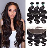 Great Grace Brazilian Body Wave 3 Bundles With Frontal Closure(20 22 24 +18 Frontal) 13x4 Ear to Ear Lace Frontal Closure With Bundles Unprocessed Virgin Human Hair Natural Color