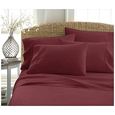 Mat's Linen EGYPTIAN COTTON KING SHEET SET (76x80) Fits Upto 14-15 Deep Pocket 600 Thread Count Burgundy Solid # Exotic Bedding Collection