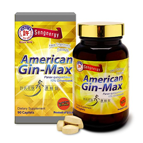Hsu's Ginseng SKU 1066 | American Gin-max, 90 Count | Cultivated American Ginseng from Marathon County, Wisconsin USA | 许氏花旗参濃縮錠 | 90ct Bottle, 西洋参, 10% ginsenocides, B00GK5VWB0
