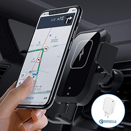 AICase Automatisch Wireless Auto Ladegerät 10W/7.5W/5W Lüftung Handyhalterung Qi Charger Autohalterung für iPhone 11/XS/XR/X Samsung S20/S10/S9/S8/S7/S7 Edge/Note 10/Note 9, alle Qi Geräte